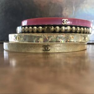 Set of 4: Authentic Chanel Resin Bangle Bracelets